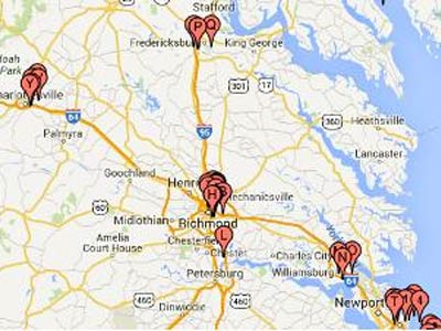 Map pinpointing oxford house locations in Virginia